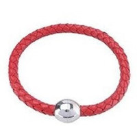 Magnetic Clasp Braided Red Leather Bracelet