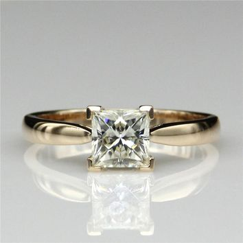 14KT Yellow Gold Princess Cut 1ct  Lab Diamond  4 Prong Solitaire  Ring