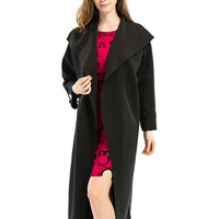 Black Lapel Tied Waist Buckle Cuff Plain Trench Coat