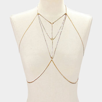 Bra Body Chain with Crystal Stone Necklace