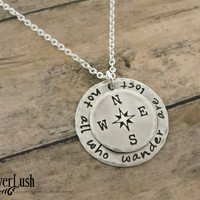 Handmade Compass pendant - Not all who wander are lost - quote necklace inspirational jewelry