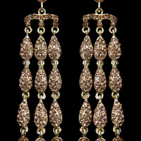 Waterfall Crystal Dangle Earrings in Gold – bandbcouture.com