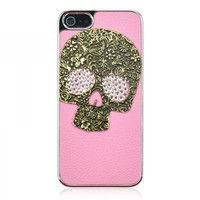 Cool 3D Metal Skull Mixed Bling Rhinestone Leather Case For iPhone 5