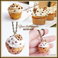 Chocolate Chip Cookie Cupcake Necklace, Cupcake Charm, Cupcake Necklace, Cupcake Jewelry, Food Charms, Miniature Food Jewelry