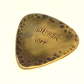 Pluck Off Rustic Brass Guitar Pick with Brushed Antiqued Patina and Hammered Texture