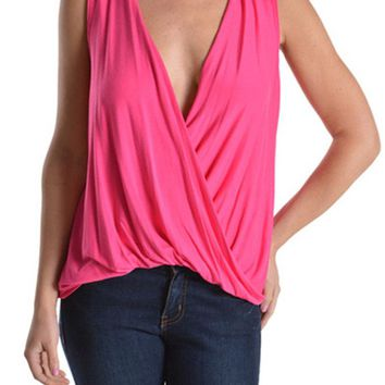 Women Sleeveless Gathered Draped Plunge Crossover Deep Front Wrap Top Blouse