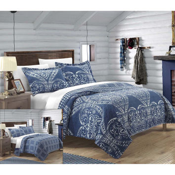 Revenna Napoli Reversible Jacquard Quilt Set King, Queen & Twin Navy