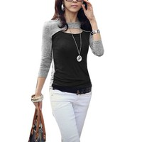 Cut out Neck Long Sleeve Autumn Shirt for Lady