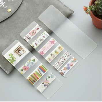 10 pcs/lot transparent packaging board DIY stickers office adhesive Washi paper tape dispensing plate 02405