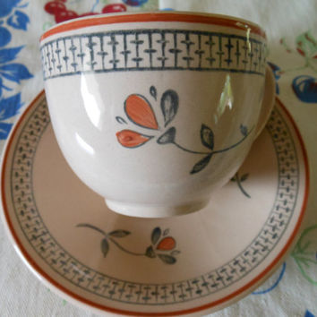 Johnson Brothers Zephyr Cups and Saucers, Vintage Johnson Brothers Dinnerware, Taupe with Rust Trim, Rust & Gray Flowers