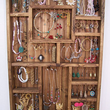 Jewelry Display Case Handmade Wood Wall Art by barbwireandbarnwood