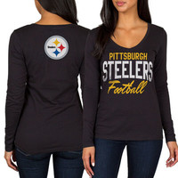 Women's Pittsburgh Steelers Black Direct Snap V-Neck Long Sleeve T-Shirt