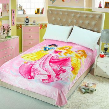 HOT Cartoon Princess 3D Printed Blankets Throws Bedding 150*200CM Size Girls Baby Children's Kids Bedroom Decoration Pink Colour
