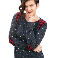 Polka Dot Sweater with Buffalo Plaid Patches