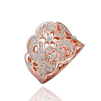 Rose Gold Plated Jewels Covering Tiara Hollow Ring