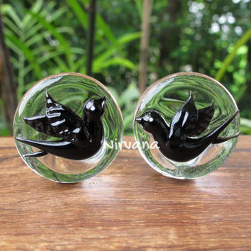 "Pyrex Glass Swallow Plugs One Pair (2 pieces) 00g 7/16"" 1/2"" 9/16"" 5/8"" 3/4"" 1"" 9.5 mm 10 mm 12 mm 14 mm 16 mm 18 mm 20 mm 22 mm 25 mm"