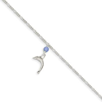 925 Sterling Silver 2mm Blue Quartz Bead and Dangling Dolphin Figaro Chain Necklace, Bracelet or Anklet
