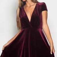 Burgundy Wine V Neck Velvet Fit N Flare Dress