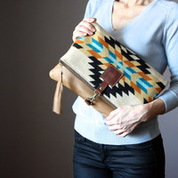 Pendleteon bag, Large Leather fold over clutch, fold over bag, fold over purse, Pendleton wool and brown leather clutch with leather charm