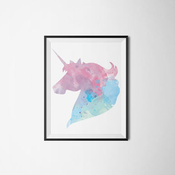 Unicorn Watercolor Art Printable - Cute Dorm Room Decor - Wall Art Print
