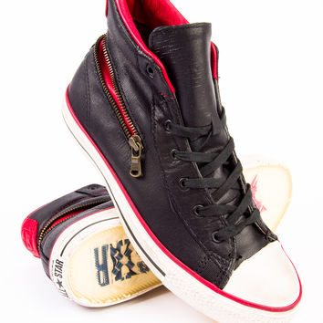 John Varvatos x Converse Scratched Leather Mid Back Zip Black/Chili Sneaker