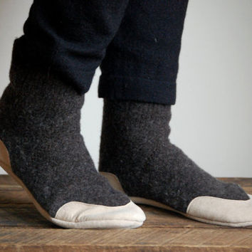 Unisex Wool Slippers, Leather Soles & Eco friendly, women sizes 6.5, 8, 9.5, 11 wide, men size 10 wide, Mud Pies