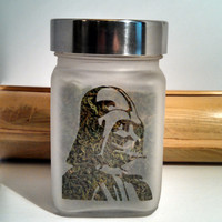 Darth Vader Air Tight Etched Glass Stash & Herb Storage Jar - Star Wars Inspired - Novelty Gift for Smokers