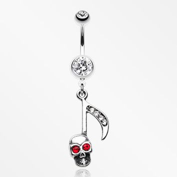 The Tune of Death Skull Belly Button Ring