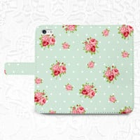 Mint floral iPhone/smartphone flip leather Wallet case for iPhone 6, 6 plus, 5, 5s, 5c, iPhone 4, 4s- Samsung GalaxyS5 S4 S3, Note 3, 4