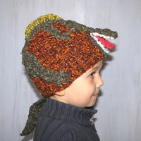 Child Hat Beanie Hat T-Rex Hat Dino Dinosaur Beanie Spring Kid Hat Crochet Hat Animal Hat Brown Dark Green Warm Unique Original For Boy OOAK
