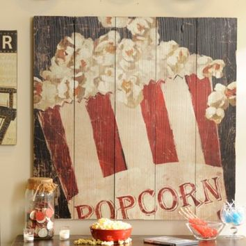 Red & White Popcorn Box Wall Plaque