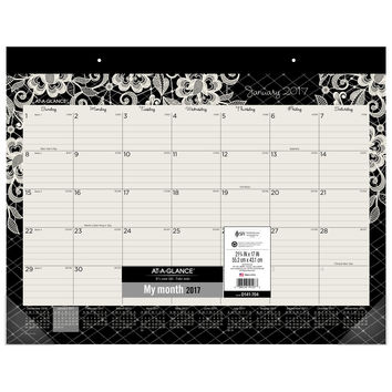"""AT-A-GLANCE Desk Pad Calendar 2017 Monthly 21-3/4 x 17"""" Lacey (D141-704) 1-Pack '"""