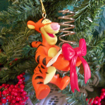 Tigger Spring Gift for Santa Disney Winnie the Pooh Christmas Tree Ornament Disneyana Colllectible Holiday Keepsake
