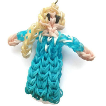 Queen Elsa inspired latex free loom band charm action figurine bag zipper pull, kids, girls, jewelry, rubber band, rainbow