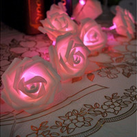 20LED Rose Flower Fairy String Lights Wedding Garden Party Christmas Decoration Night light bedroom lamp [7981683719]