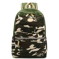 Unisex Camo Canvas Backpack Campus School Bookbag Travel Daypack
