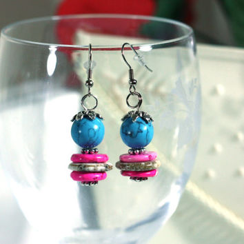 Turquoise, Hot Pink and Silver Handmade Beaded Earrings - Women's Chunky Fashion Jewelry