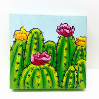 Cactus Painting, Miniature Painting, Fridge Magnet, Cactus Art, Cacti Decor, Southwest Decor, Southwestern Style, Miniature Canvas, Original