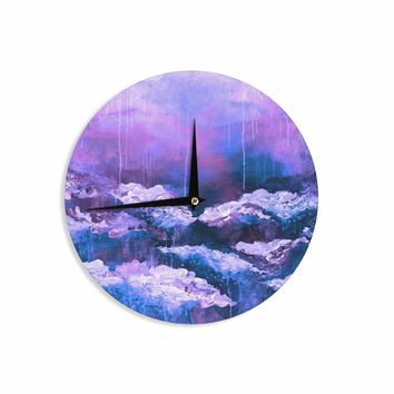 "Ebi Emporium ""It's A Rose Colored Life 7"" Purple Blue Painting Wall Clock"