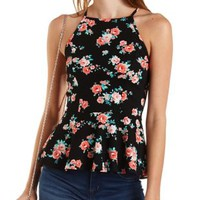 Racer Front Floral Peplum Tank Top by Charlotte Russe