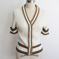 Vintage 70s White Brown Striped Short Sleeve Sweater // Retro Sweater Top