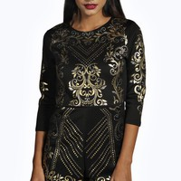 Kylie All Over Foil Print 3/4 Sleeve Playsuit