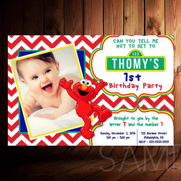 Sesame Street Red Monster Invitation For Birthday Invitation, Party Kids