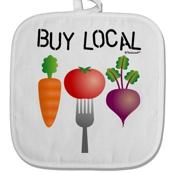 Buy Local - Vegetables Design White Fabric Pot Holder Hot Pad