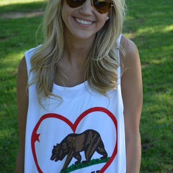 California Pride Tank Top in White
