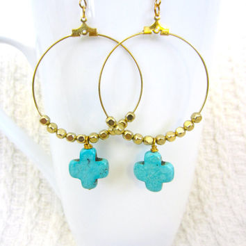 On Sale- Gold Gypsy Hoops with Turquoise Cross