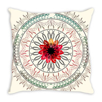 Red wine mandala throw pillow case
