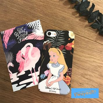 For iPhone x 10 6 7 8 plus Cartoon Alice in Wonderland Vintage Cartoon Princess in Blue Dress Around By Flowers Rose Case Cover