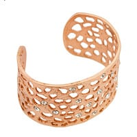 Intricate Cut-Out Cuff with Crystals - Rose Gold