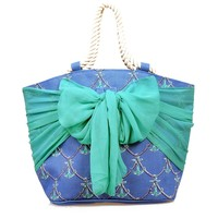 Royal Blue & Teal Anchor Print Sarong Along Jute Beach Tote